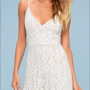 Never worn Lulus Cressida White Lace Maxi Dress
